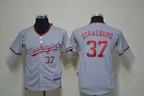 Nationals #37 Stephen Strasburg Grey Cool Base Stitched Youth MLB Jersey