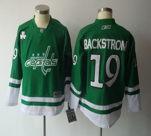 Capitals #19 Nicklas Backstrom Green St. Patty's Day Stitched Youth NHL Jersey
