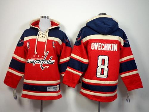 Capitals #8 Alex Ovechkin Red Sawyer Hooded Sweatshirt Stitched Youth NHL Jersey