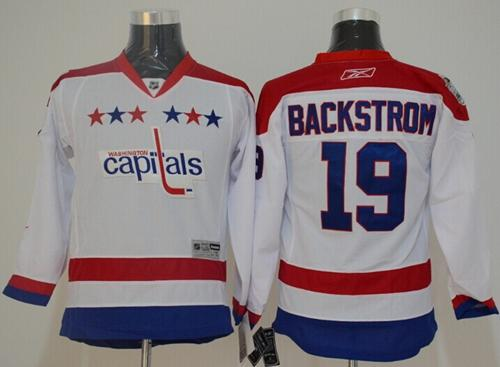 Capitals #19 Nicklas Backstrom White 2011 Winter Classic Vintage Stitched Youth NHL Jersey