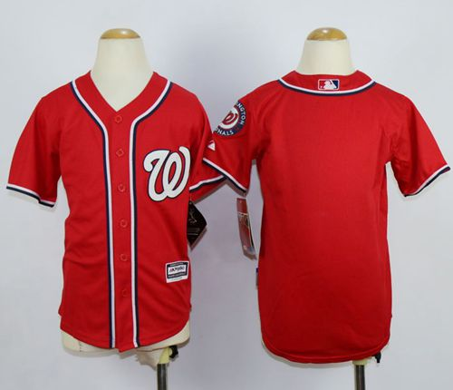 Nationals Blank Red Cool Base Stitched Youth MLB Jersey