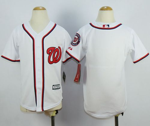 Nationals Blank White Cool Base Stitched Youth MLB Jersey
