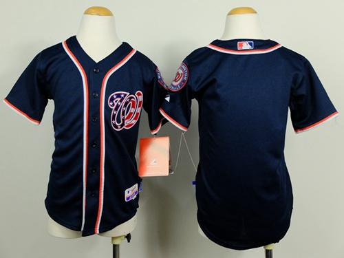 Nationals Blank Blue Cool Base Stitched Youth MLB Jersey