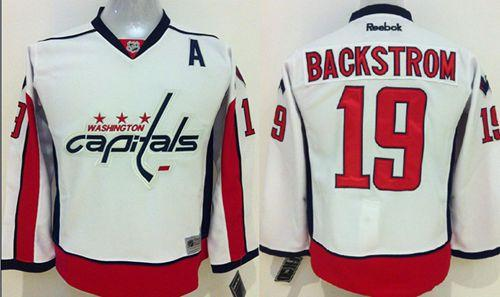 Capitals #19 Nicklas Backstrom White Stitched Youth NHL Jersey
