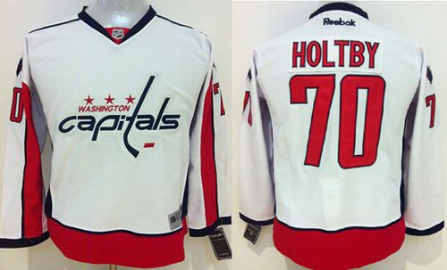 Capitals #70 Braden Holtby White Stitched Youth NHL Jersey