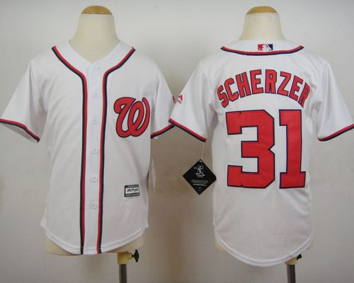 Nationals #31 Max Scherzer White Cool Base Stitched Youth MLB Jersey