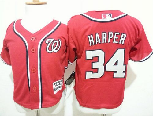 Toddler Nationals #34 Bryce Harper Red Cool Base Stitched MLB Jersey