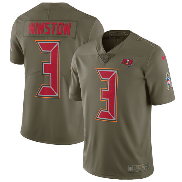 Youth Nike Tampa Bay Buccaneers #3 Jameis Winston Olive Salute to Service Limited Stitched NFL Jersey