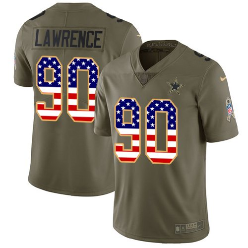 Youth Nike Dallas Cowboys #90 Demarcus Lawrencs 2017 Salute to Service Olive USA Flag Stitched NFL Limited Jersey