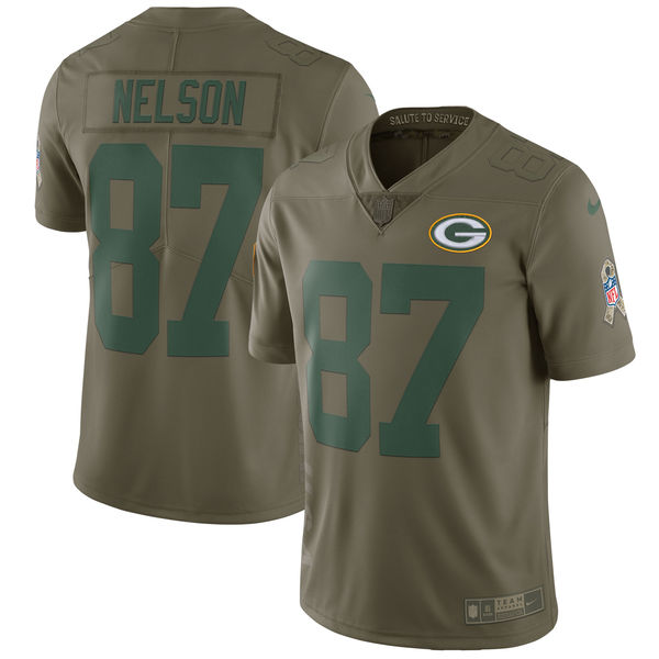 Youth Nike Green Bay Packers #87 Jordy Nelson Olive Salute To Service Limited Stitched NFL Jersey