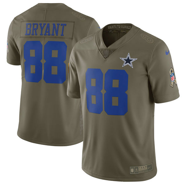 Youth Nike Dallas Cowboys #88 Dez Bryant Olive Salute To Service Limited Stitched NFL Jersey