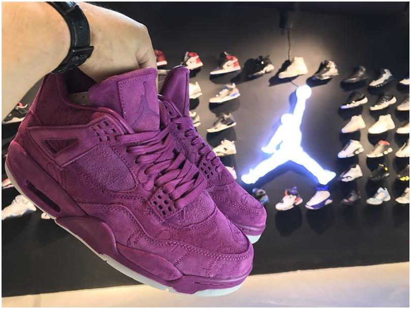 KAWS x Air Jordan 4 Premium Purple Suede For Sale