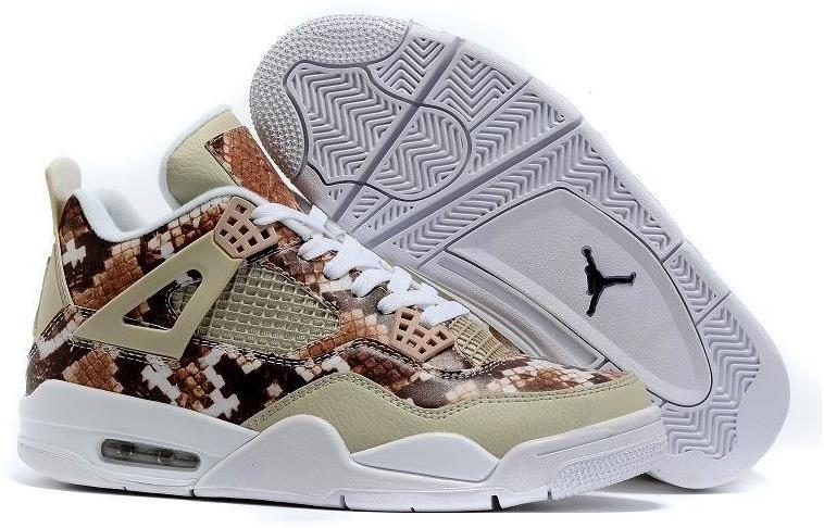 "2016 Air Jordan 4 ""Snakeskin"" White Grey Brown Cheap Sale"