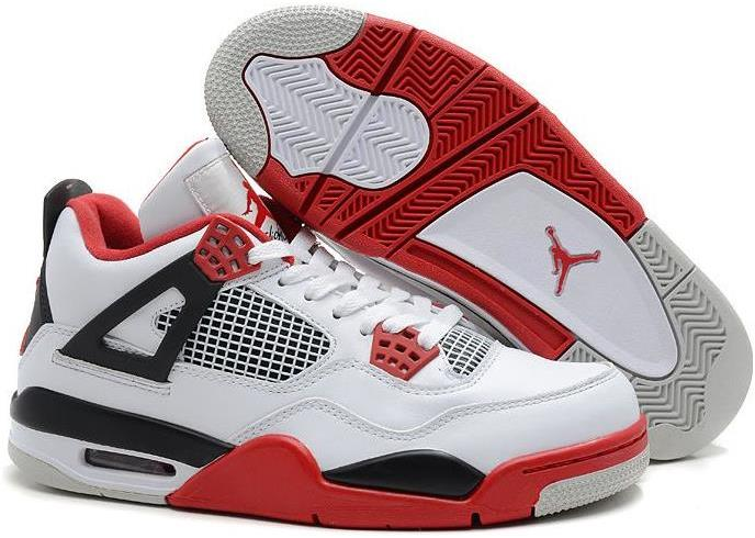 Air Jordan 4 (IV) Retro White/Fire Red-Black