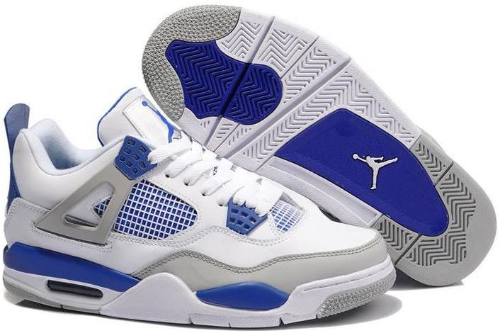 Air Jordan 4 (IV) Retro White/Military Blue-Neutral Grey
