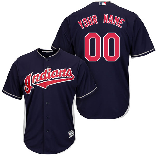 Men Cleveland Indians MLB Cool Base Navy Blue jerseys
