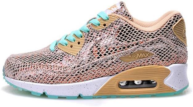 Air Max 90 Outlet Sale Snake Leather Gold Mint White Womens
