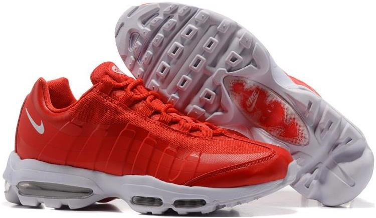 Cheap Mens Nike Air Max 95 Ultra Essential Gym Red-White For Sale