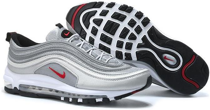 Nike Air Max 97 OG QS 'Silver Bullet' Metallic Silver/Varsity Red-White-Black For Sale