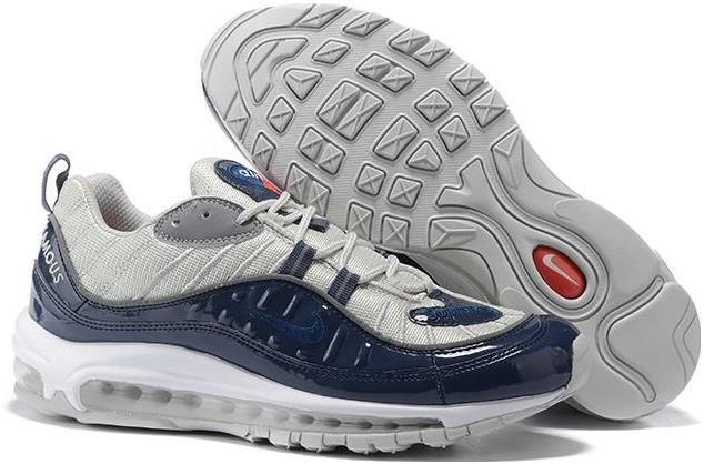 Supreme x Nike Air Max 98 Navy Blue and Silver For Sale