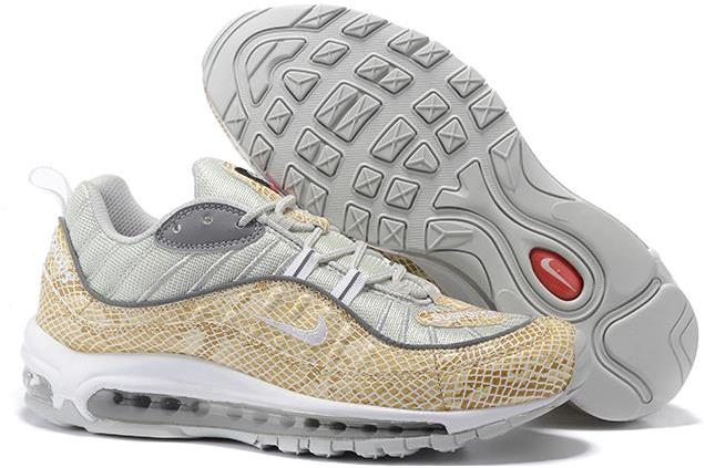 "Supreme x Nike Air Max 98 ""Snakeskin"" Sail and Metallic Silver-Varsity Red-White For Sale"