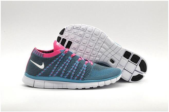 Nike Mens Free Flyknit NSW Blue Grey Pink