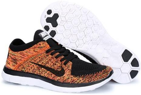 Nike Mens Free 4.0 Flyknit Orange Black