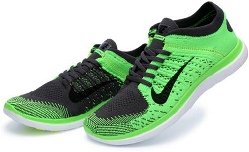 Nike Mens Free 4.0 Flyknit Green Dark Grey